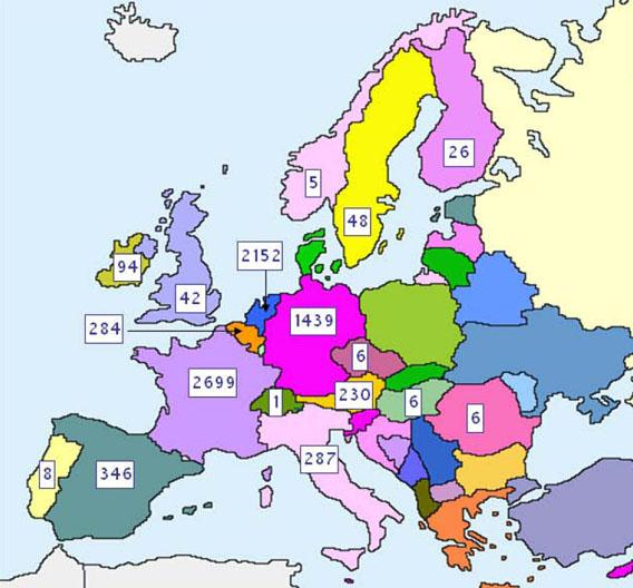 Frankreich und die Niederlande sind mit über 2000 Personenjahren die stärksten Nutzer des EUREKA-Programms CATRENE.(nicht sichtbar: Israel mit 73 Personenjahren)