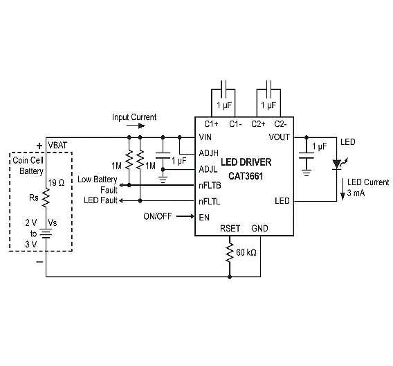 Bild 1: Durch eine Knopfzellenbatterie und einen Ladungspumpen-LED-Treiber gespeiste LED