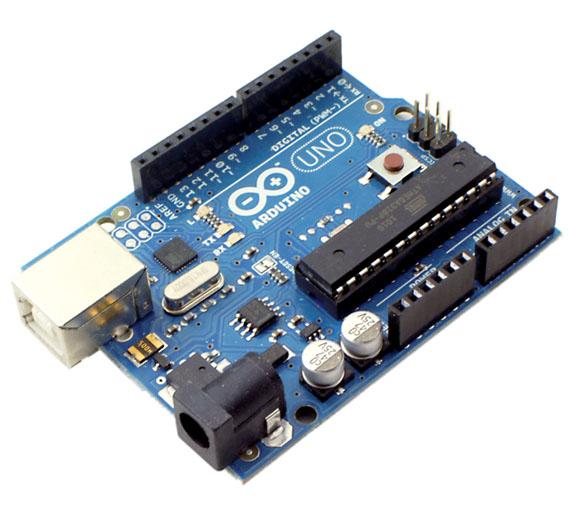 """Bild 1. Das Board """"Arduino Uno"""" mit einem Mikrocontroller ATmega328 ist das gegenwärtige """"Basic Board"""" von Arduino."""