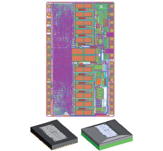 Bild 1. Optischer Abtaster iC-LNB mit 30-poligem optoBGA-Gehäuse (7 × 8 mm²) und 38-poligem optoQFN-Gehäuse (5 × 7 mm²).