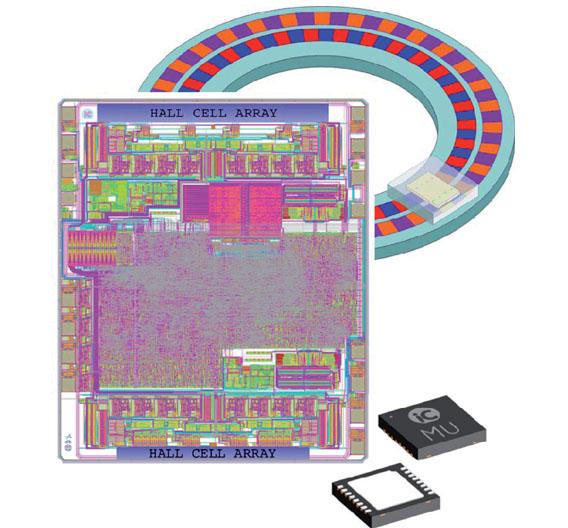 Bild 2. Magnetischer Sensor-Chip iC-MU (3 × 4 mm²), Polscheibe und 16-poliges DFN-Gehäuse (5 × 5 mm²).