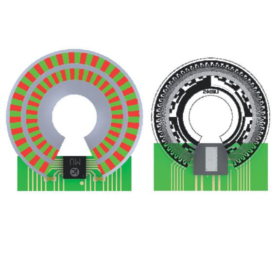 Bild 3. Prinzipielle Anordnung und Größenvergleich: Polscheibe und Hall-Drehgeber iC-MU (links; die eingefärbte Magnetisierung ist dem Chip zugewandt); Code-Scheibe und optischer Drehgeber iC-LNB im optoBGA-Gehäuse (rechts).
