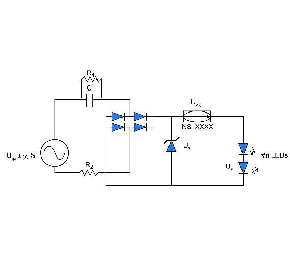Bild 1: Vorkondensator-Topologie mit Konstantstromregler für die LED-Ansteuerung