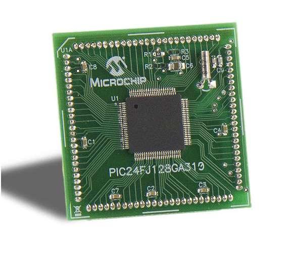 Bild 1: Im Halbschlafmodus (Doze Mode) kann die CPU des  »PIC24F-J128GA310« (hier auf dem Plug-in-Modul für das  »Explorer 16«-Entwicklungsboard) langsamer laufen als die Peripherie