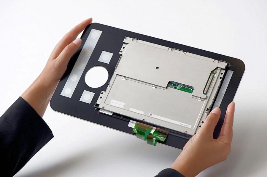 Rückseite eines kompletten projizierend kapazitiven Touch Screens
