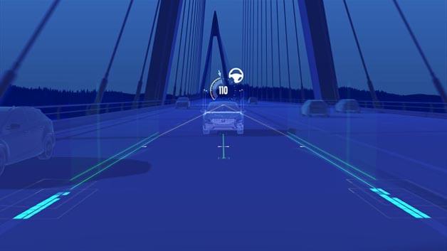 Der Pilot Assist im neuen Volvo S90 hält das Fahrzeug bei Geschwindigkeiten von bis zu rund 130 km/h mit dezenten Lenkeingriffen in der Spur