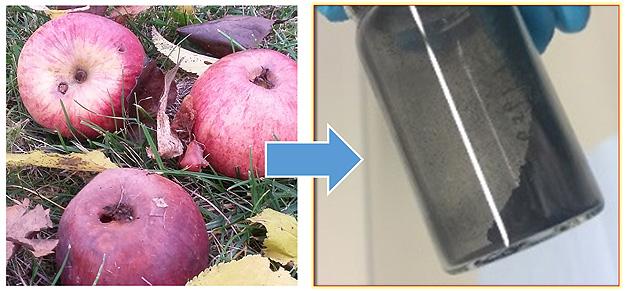 Äpfel bilden die Grundlage für das neue kohlenstoffbasierte Material für Natrium-Ionen-Batterien.