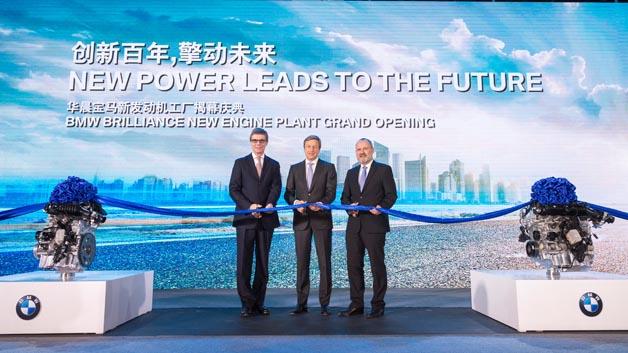 Eröffnung des BMW Brilliance Motorenwerks mit Gießerei in Shenyang, v.l.n.r. Olaf Kastner, Leiter BMW Group Region China, Oliver Zipse, Vorstand Produktion BMW Group, Dr. Anton Heiss, Präsident BMW Brilliance Automotive.
