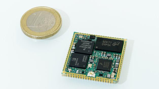 Das ConnectCore-Modul von Digi ist etwas größer als eine Euro Münze.