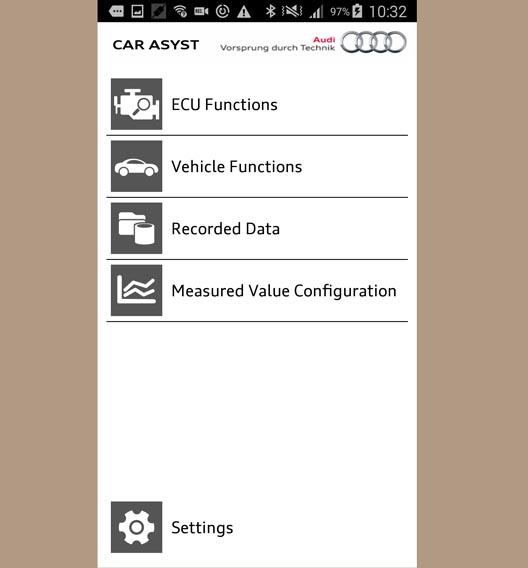 Mit der Car Asyst App kann der Nutzer sich beispielsweise die Steuergeräte- und Fahrzeugfunktionen anschauen.